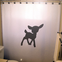 Cute Baby Deer Fawn Shower Curtain for Kids Bathroom Decor. Waterproof Mildew Resistant Polyester in Standard, Extra Long & Extra Wide Sizes