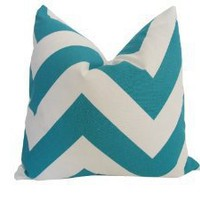 Decorative Designer Pillow Cover-18x18 inch-Teal & White Large Chevron