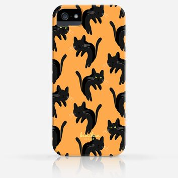 Halloween Spooky Cat Orange Gray Purple Pattern iPhone 4/4s Case iPhone 5/5s Case