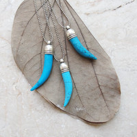 Tribal Tusk Necklace Turquoise Stone Horn Layer necklace