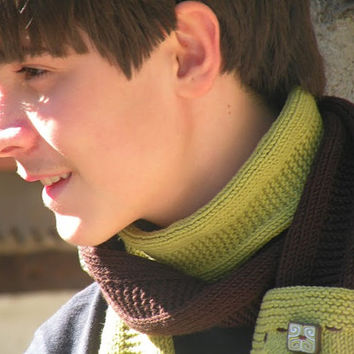 Hand Knit Pocket Scarf, Brown and Green Wool Long Scarf