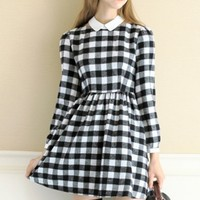 Plaid Hollow-Out Pleated Dress - OASAP.com