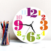 Large wall clock home decor kitchen wall art hostess houswarming gift printed rainbow colored big digits and numbers