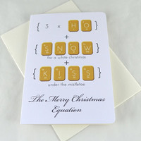 Geeky Christmas Card - Christmas Equation Card - Quirky Christmas Card  - Boyfriend Christmas Card -  Merry Christmas Card