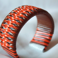 Brown and Orange Twist Cuff Bracelet