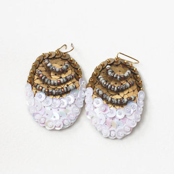 Oval Sequin Earrings, White Gold Sequins, Felt Embroidered Jewelry, Beads Chandelier Earrings, Festive Wedding Accessory