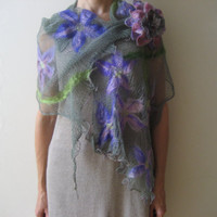 SOLD Nuno felted green lavender shawl wrap scarf, knitted cotton, violet, purple flower decoration