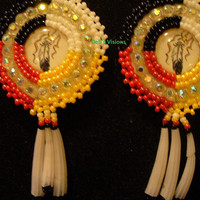 Rosette beaded Four Direction feather earrings with dentillium fringes