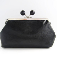 Black Bead Frame Purse