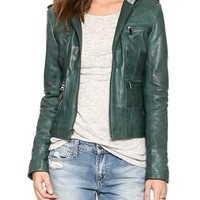 Ever Ludlow Hooded Leather Jacket