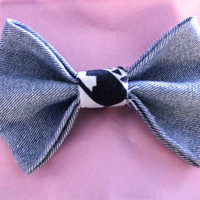 Denim Hair Bow with aztec detail