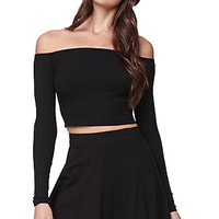 LA Hearts Ribbed Off Shoulder Cropped Top - Womens Tee - Black