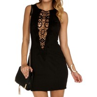 Black Plunging Crochet Front Dress