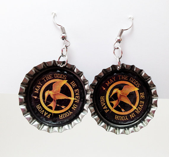Bottle Cap Earrings The Hunger Games May The Odds Be Ever In Your Favor Black