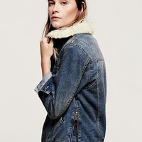 Free People Denim and Sherpa Jacket