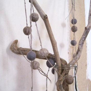 Pom pom garland gray home decor rustic natural felted balls on thread
