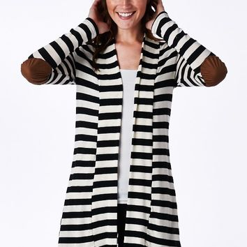 """""""Like a Boss"""" Striped Elbow Patch Cardigan"""