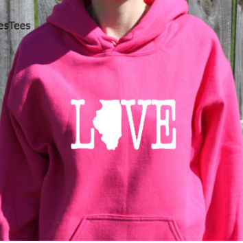 Love Illinois Hoodie, Illinois Sweatshirt, State, Home,