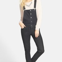 Junior Women's Fire Button Front Denim Overalls