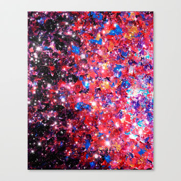 WRAPPED IN STARLIGHT Bold Colorful Abstract Acrylic Painting Galaxy Stars Pink Red Purple Ombre Sky Canvas Print by EbiEmporium