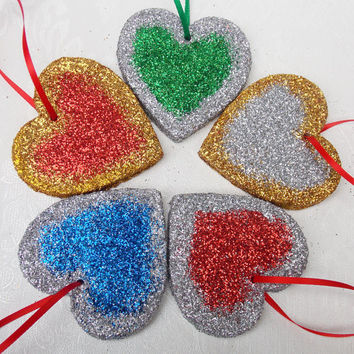 Wooden Heart Christmas Tree Decoration with Two Tone Glitter Detail