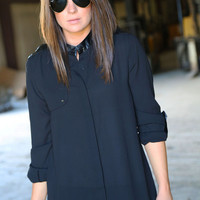 Black + Leather Blouse