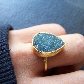 SALE WAS 80.00 Druzy Ring, Drusy Ring, Gold Ring, Green Druzy Ring, Green Drusy Ring - Gold Vermeil Green Ring