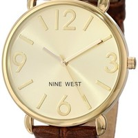 Nine West Women's NW/1558CHBN Gold-Tone Brown Croco-Grain Pattern Strap Watch