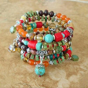 Boho Southwest Bracelet, Cowgirl, Southwest Jewelry, Turquoise Jewelry, Tribal, Layered Bracelet. Boho Southwest Bracelet Cowgirl Jewelry