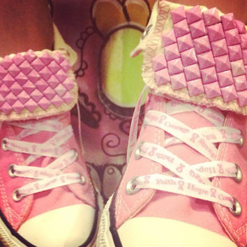 Breast Cancer Awareness Custom Studded Pink Converse All Stars - Chuck Taylors! ALL SIZES & COLORS!