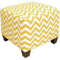 Berit Square Chevron Ottoman, Yellow, Ottomans