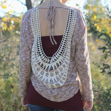 Mauve Open Crochet Back Top | Posh Boutique