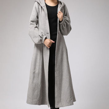 Gray wool coat with tie belt waist long winter coat (708)