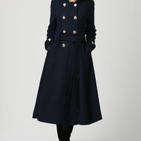 Dark blue wool coat winter women coat long coat (1114)