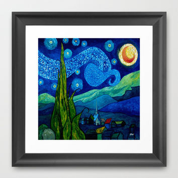 Star Lit Night Framed Art Print by raineon | Society6