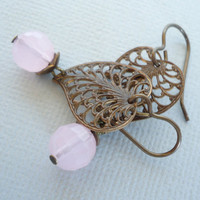 Pink Crystal & Brass Filigree Earrings