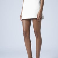 Textured Curve Pelmet Skirt - White