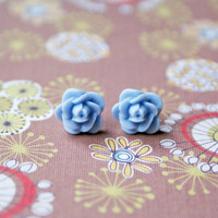 Petite Light Blue Rose Cabochon Earrings
