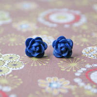 Petite Navy Blue Rose Cabochon Earrings