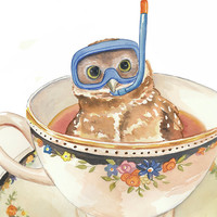 Owl Watercolor Painting - Original Art, Teacup, Dive Mask, Owl Illustration, 11x14
