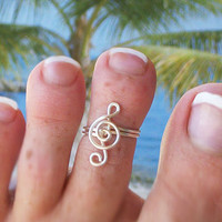 Treble Clef Toe Ring, Adjustable