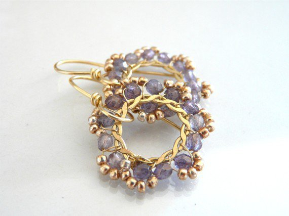 FREE shipping - The Diamante - beautiful earrings with lavender Czech glass