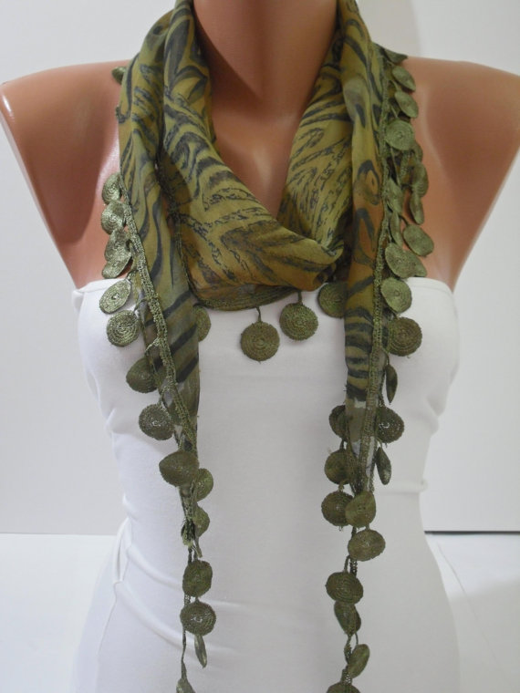 Dark Green Shawl / Scarf - Headband - Cowl with Lace Edge