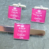 Keep Calm and Carry on Cuff links and matching tie bar ideal customized mens handmade wedding gift