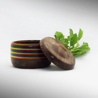 Wood Box Lidded - Beautiful Black Walnut wood with Rainbow Birch inlay