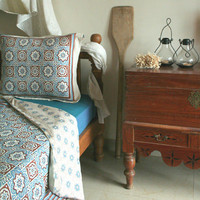 Ocean Breezes ~ Rustic Blue Brown Moroccan Queen Beach Duvet