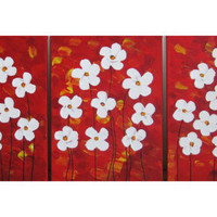 "Original Modern Abstract Texture Impasto Acrylic Painting Wall Decor ""Happy Flowers"" by Mariene Jardim"