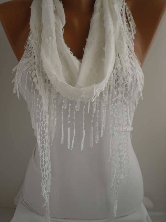 White Shawl and Scarf  Headband - Cowl with Lace Edge -Summer Trends