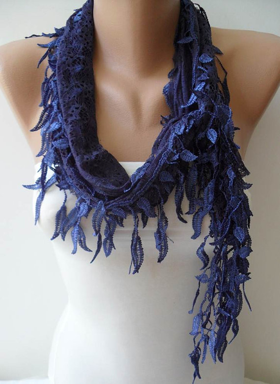 Dark Blue Laced Scarf with Trim Edge -- Speacial Laced Fabric