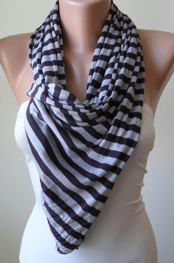 Grey and Dark Purple Scarf -- Combed Cotton Fabric for Summer